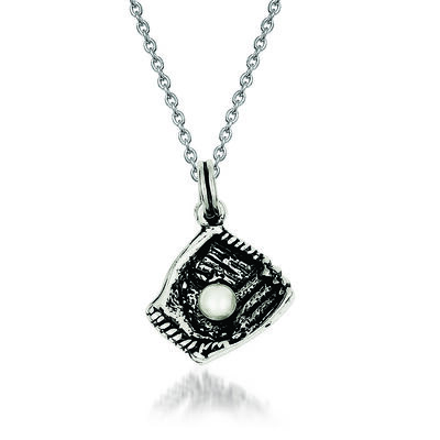 "Sterling Silver Simulated Pearl and Baseball Glove Charm Necklace. 18"", , default"