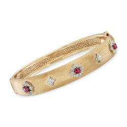 .40 ct. t.w. Ruby and .11 ct. t.w. Diamond Bangle Bracelet in 14kt Yellow Gold, , default