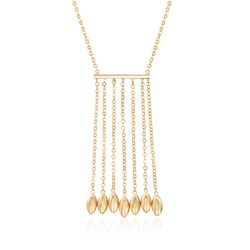 14kt Yellow Gold Fringe and Bead Necklace, , default