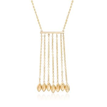 """14kt Yellow Gold Fringe and Bead Necklace. 20"""", , default"""