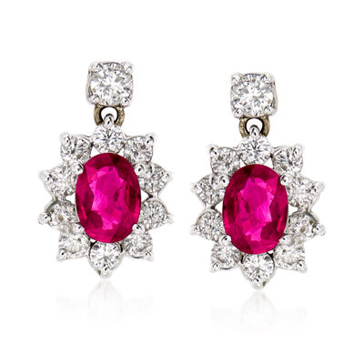 C. 1970 Vintage 1.90 ct. t.w. Ruby and 1.25 ct. t.w. Diamond Drop Earrings in 14kt White Gold, , default