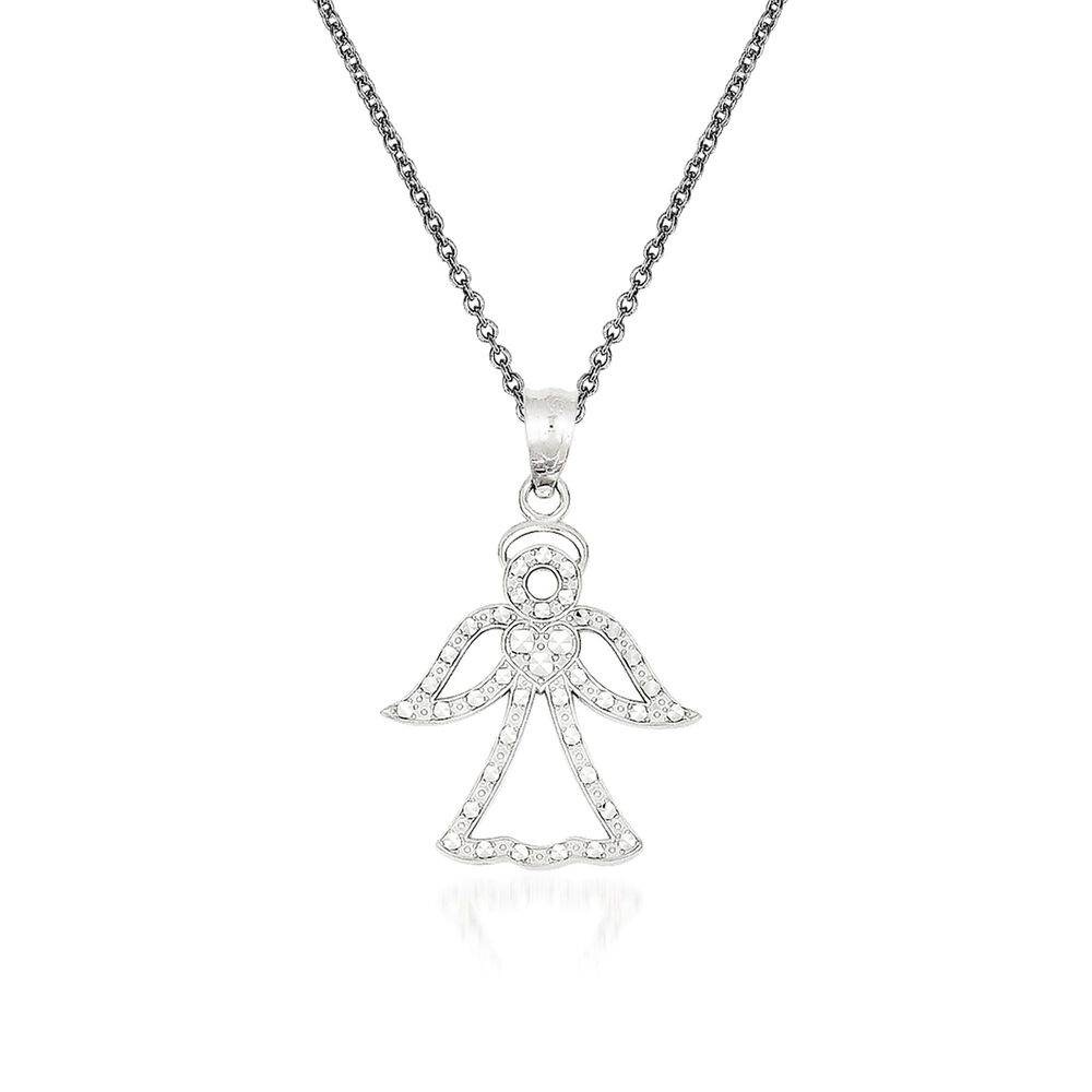 2a8316e9499b3 14kt White Gold Angel Pendant Necklace. 18