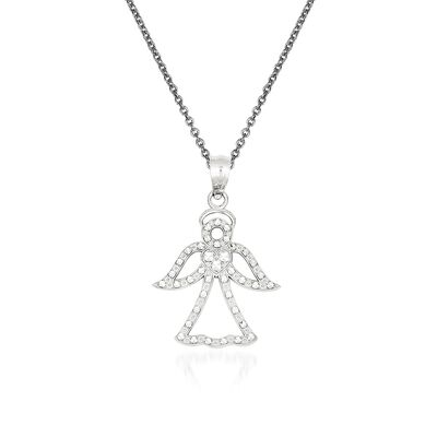 14kt White Gold Angel Pendant Necklace, , default