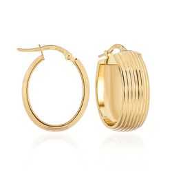 14kt Yellow Gold Wide Ribbed Oval Hoop Earrings, , default