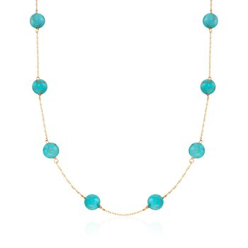 """8mm Turquoise Bead Station Necklace in 14kt Yellow Gold. 18"""", , default"""