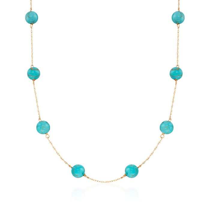 "8mm Turquoise Bead Station Necklace in 14kt Yellow Gold. 18"", , default"