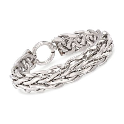 Sterling Silver Wheat Link Bracelet, , default