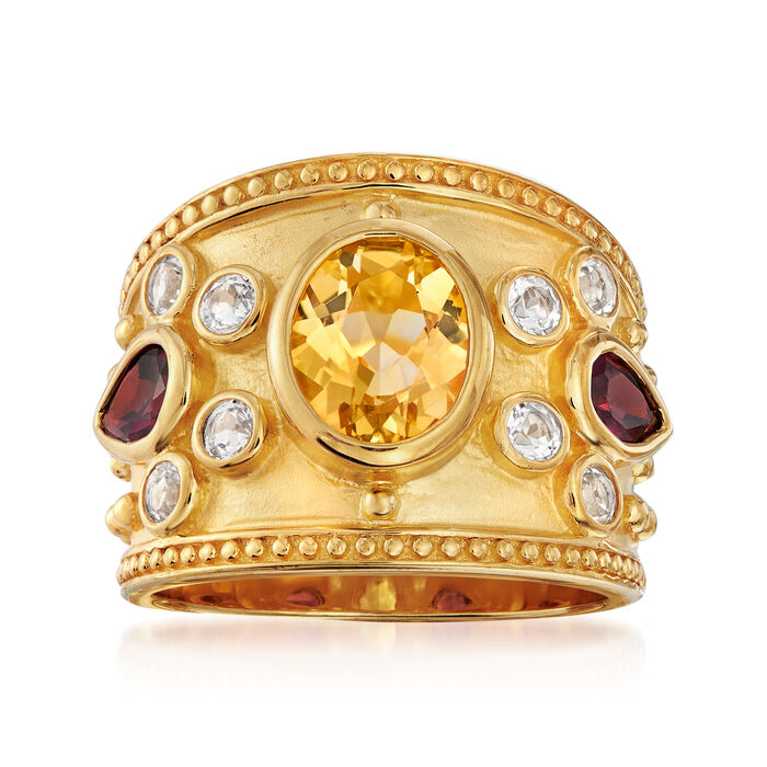 3.80 ct. t.w. Multi-Gem Ring in 14kt Gold Over Sterling