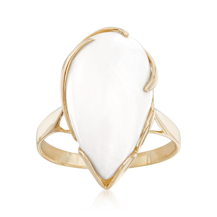 20x11mm White Agate Ring in 14kt Yellow Gold, , default