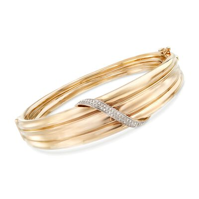 .19 ct. t.w. Diamond Sash Bangle Bracelet in 14kt Yellow Gold, , default