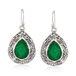 11.00 ct. t.w. Emerald Scroll Drop Earrings in Sterling Silver, , default