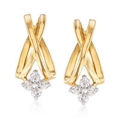 .20 ct. t.w. Diamond Flower X Earrings in 14kt Yellow Gold, , default