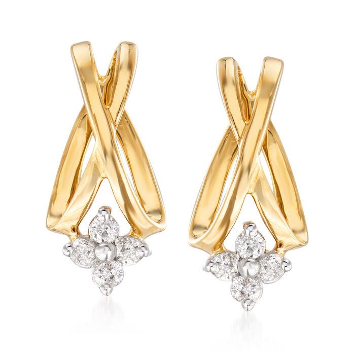 .20 ct. t.w. Diamond Flower X Earrings in 14kt Yellow Gold