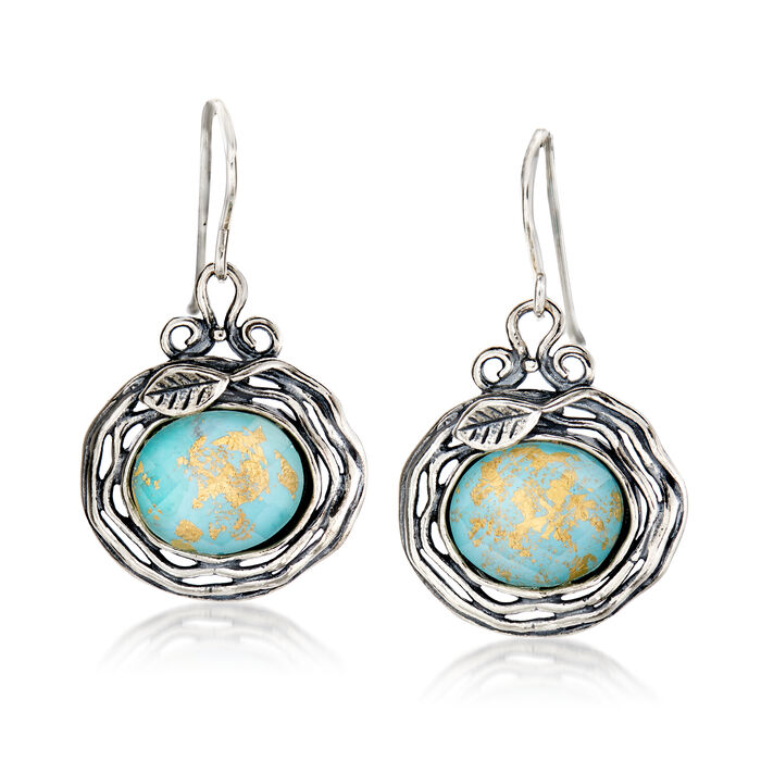 Turquoise and Rock Crystal Leaf Drop Earrings in Sterling Silver