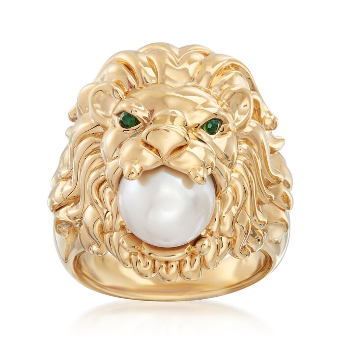 9-9.5mm Cultured Pearl Lion Head Ring with Emerald Accents in 14kt Yellow Gold, , default