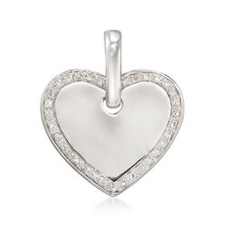 Sterling Silver Personalized Heart Slide Enhancer With .10 ct. t.w. Diamonds, , default