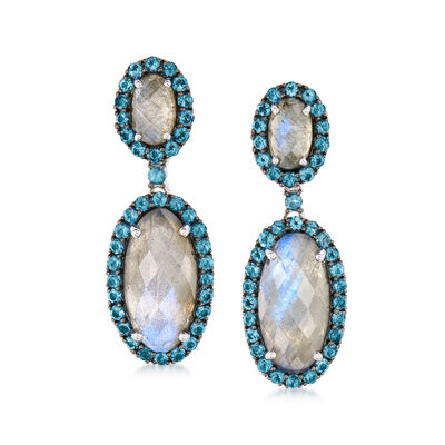 Labradorite and 2.30 ct. t.w. London Blue Topaz Drop Earrings in Sterling Silver, , default
