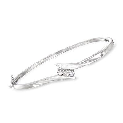 C. 1980 Vintage .50 ct. t.w. Diamond Bangle Bracelet in 14kt White Gold, , default