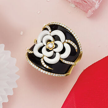 Black Onyx, White Agate and .70 ct. t.w. Diamond Flower Ring in 18kt Yellow Gold. Size 5