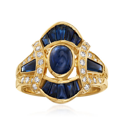 C. 1980 Vintage 1.60 ct. t.w. Sapphire and .35 ct. t.w. Diamond Ring in 18kt Yellow Gold