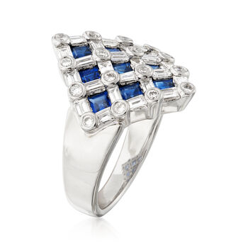C. 1980 Vintage 1.58 ct. t.w. Sapphire and 1.25 ct. t.w. Diamond Checkerboard Ring in Platinum. Size 7, , default