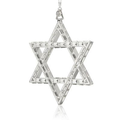 Crystamas Swarovski Crystal White Rhodium-Plated Star of David Ornament, , default