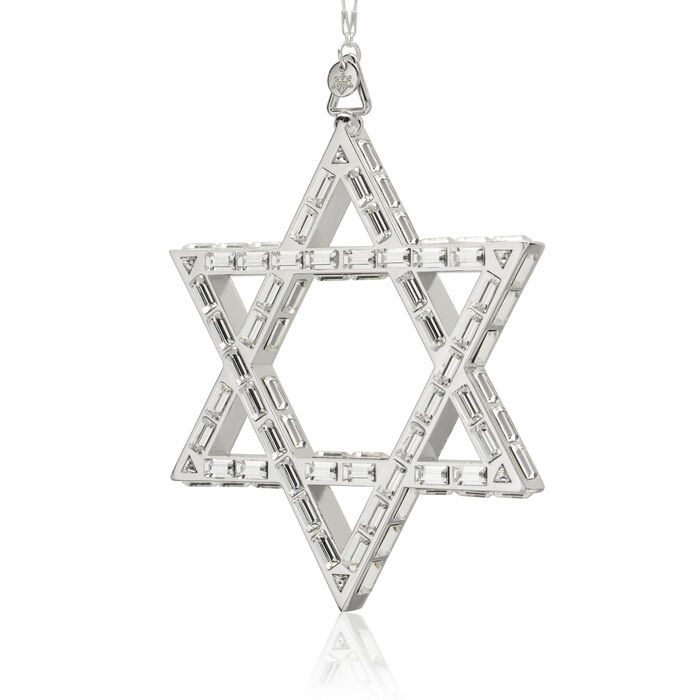 Crystamas Swarovski Crystal White Rhodium-Plated Star of David Ornament, , default