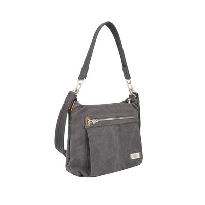 "Travelon ""Anti-Theft Heritage"" Pewter Cotton Canvas Hobo Bag, , default"