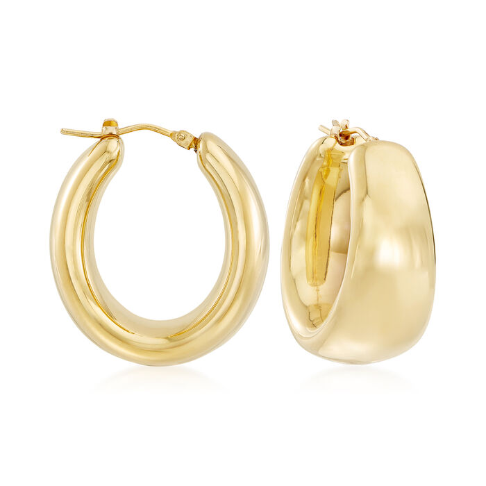 Andiamo 14kt Yellow Gold Puffed Oval Hoop Earrings. 1 1/8""