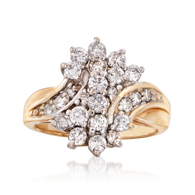C. 1990 Vintage 1.00 ct. t.w. Diamond Cluster Ring in 14kt Yellow Gold, , default