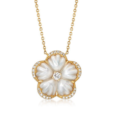 Mother-Of-Pearl and .29 ct. t.w. Diamond Flower Necklace in 14kt Yellow Gold