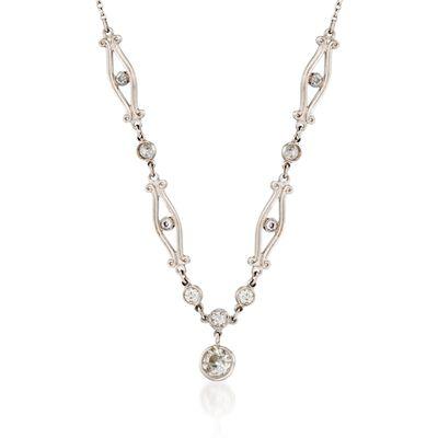 C. 1990 Vintage .51 ct. t.w. Old European Cut Diamond Necklace in Platinum, , default