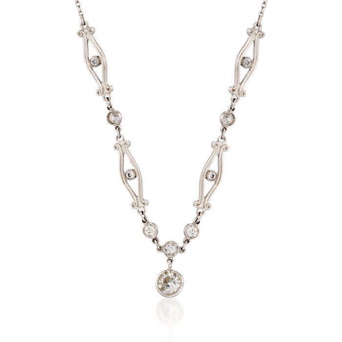 "C. 1990 Vintage .51 ct. t.w. Old European Cut Diamond Necklace in Platinum. 18"""