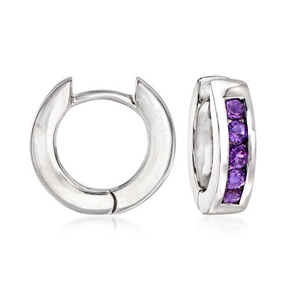 .70 ct. t.w. Amethyst Hoop Earrings in Sterling Silver