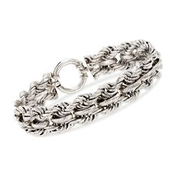 Sterling Silver Double Twisted Link Bracelet, , default