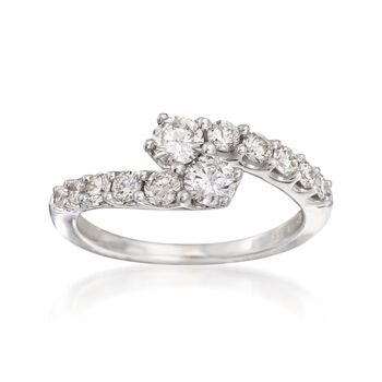 .94 ct. t.w. Diamond Bypass Ring in 14kt White Gold, , default