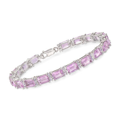 17.00 ct. t.w. Amethyst and 1.00 ct. t.w. Tanzanite Bracelet in Sterling Silver, , default