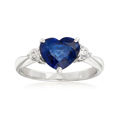C. 1980 Vintage 2.51 Carat Sapphire Heart and .20 ct. t.w. Diamond Ring in Platinum, , default