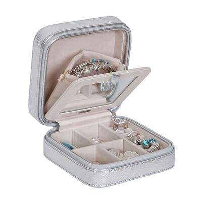 Mele & Co. Metallic Silver Faux Leather Travel Jewelry Box, , default