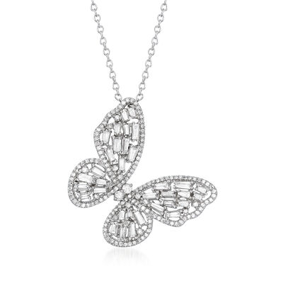 1.00 ct. t.w. Diamond Butterfly Pendant Necklace in 14kt White Gold, , default