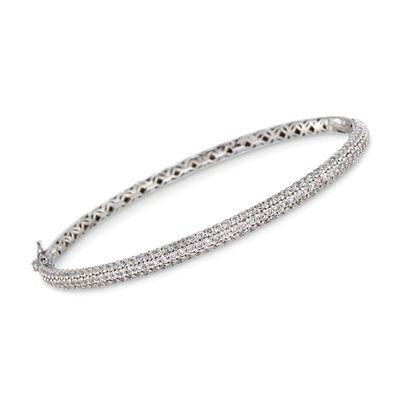 2.60 ct. t.w. CZ Bangle Bracelet in Sterling Silver, , default