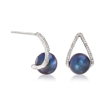 8-8.5mm Black Cultured Pearl and .12 ct. t.w. Diamond Drop Earrings in 14kt White Gold