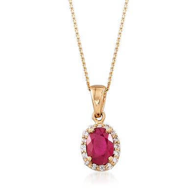 1.00 Carat Ruby and .16 ct. t.w. Diamond Pendant Necklace in 14kt Yellow Gold, , default