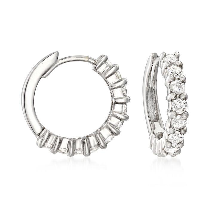 """1.00 ct. t.w. Diamond Hoop Earrings in 14kt White Gold. 5/8"""", , default"""