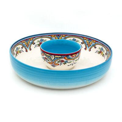 "Euro Ceramica ""Zanzibar"" Chip and Dip Serveware"