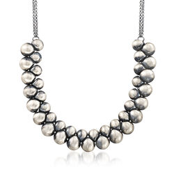 Italian Antique-Style Sterling Silver Double-Row Bead Necklace, , default