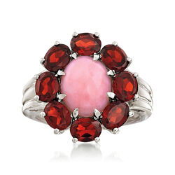 Pink Opal and 2.80 ct. t.w. Garnet Ring in Sterling Silver, , default