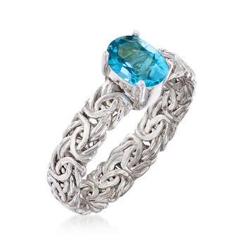 .90 Carat Blue Topaz Byzantine Ring in Sterling Silver, , default