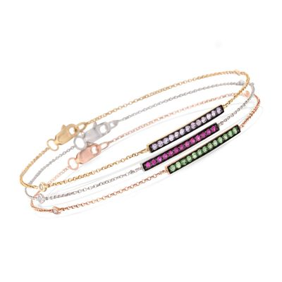 .60 ct. t.w. Multi-Stone Jewelry Set: Three Bar Bracelets With Diamond Accents in 14kt Tri-Colored Gold, , default