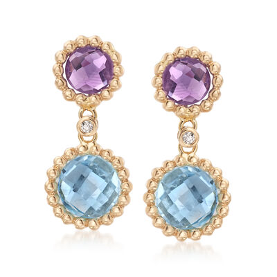 4.10 ct. t.w. Blue Topaz and 1.40 ct. t.w. Amethyst Drop Earrings in 14kt Yellow Gold, , default